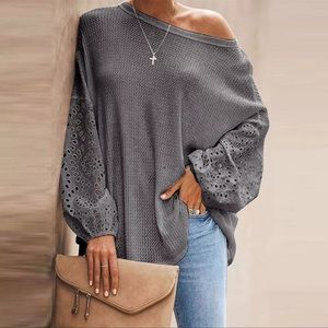 !Now In!! Stone Ground Eyelet Long Henley Grey Top